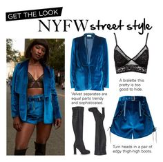 """""""Get the Look: Blue Velvet"""" by polyvore-editorial ❤ liked on Polyvore featuring self-portrait, Charlotte Russe, ALDO, GetTheLook and NYFW"""