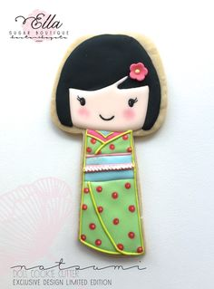 Japanese Kokeshi Doll, Natsumi, by One Cake a Day, posted on Cookie Connection