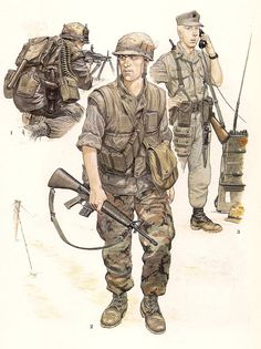 nº 1.- US Marine Machine Gunner ,Hue City , Tet  Offensive, February,1968.                              nº 2.- US Marine Rifleman,1st.Battalion, 7th Marines, Spring, 1969                              nº 3.- US Marine Radioman, Operación Starlite, August 1965.