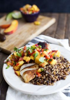 Pan Seared Chicken Breast with fresh Peach Salsa, a flavorful chicken dinner that's done in 30 minutes. It's the perfect meal for a school night!