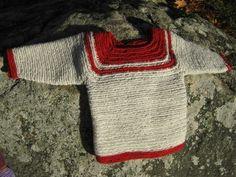 Needlebound / nalbound sweater for child made using improvised stitch, by Anneli Henriksson. Posted [in Swedish] 2015-11-10 for sale @ Evendim hantverk [Evendim handicrafts] on FaceBook. Please see link!
