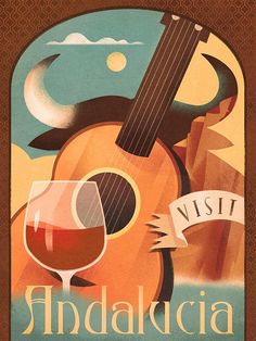 Retro vintage travel poster Spain, guitar and wine with graphic bull, Andalucia. Frame it with or without mat, and decorate any wall with this vintage glamour poster! This poster is printed on matte, museum-quality, durable, archival paper. The estimated shipping time is 10-12
