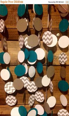 ON SALE 10 Feet Long Teal and Gray and White Chevron Paper Garland Birthday Party Decor, Baby Shower Decor, Nursery Decor, Wedding Etc! by PartyMadePretty on Etsy https://www.etsy.com/listing/164371097/on-sale-10-feet-long-teal-and-gray-and