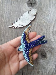 Buy A beaded brooch Swallow cornflower - brooch, a beaded brooch, handmade accessories