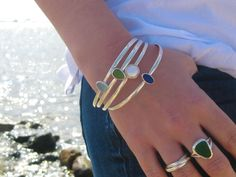 Sea Glass Bangle Bracelet | Sterling Silver Bangle Bracelet | Bangle Bracelet | Sea Glass Bracelet | Beach Glass Bracelet | Pearl Bracelet by LitaSeaGlassJewelry on Etsy https://www.etsy.com/listing/249110669/sea-glass-bangle-bracelet-sterling