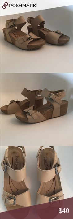 Josef Seibel wedge sandals NWOT Josef Seibel 'The European Comfort Shoe' cork wedges. Very comfortable, supportive sandals you can walk miles in! Neutral tan color goes with everything! Josef Seibel Shoes Sandals