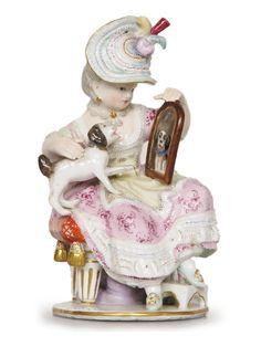 Meissen porcelain figure of a lady 1870's.
