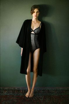 Anais Pouliot in Oysho's tulle and lace bodysuit. / #lingerie #winter