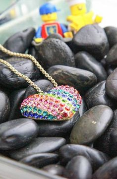 Betsey Johnson '60s Mod Rainbow Heart Pendant #accessories  #jewelry  #necklaces  https://www.heeyy.com/suggests/betsey-johnson-60s-mod-rainbow-heart-pendant-multi/