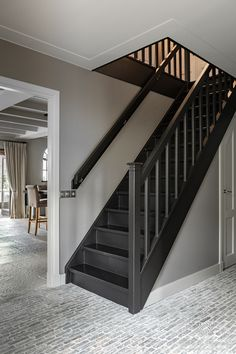 Look inside in a rural interior by Pure & Original Rustic Wooden Coffee Table, Black Stairs, Painted Staircases, Plush Area Rugs, Hallway Inspiration, Staircase Makeover, 1930s House, Stair Lighting, Painting Trim
