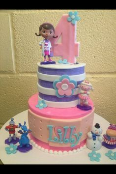 Piper wants this Doc McStuffins cake with the ruffles on the bottom layer. Doc Mcstuffins Cake, Doc Mcstuffins Birthday Party, Birthday Cake Girls, 2nd Birthday, Birthday Cakes, Birthday Ideas, Gateaux Cake, Character Cakes, Disney Cakes
