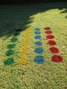 """Lawn twister for parties! I painted two """"game boards"""" in the front yard for a large group.  Great fun."""