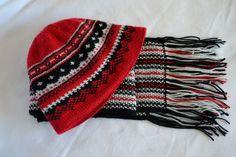 лунный цветок: Мужской комплект - жаккардовая шапка и шарф