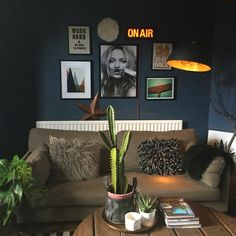 Dark interiors, Farrow and Ball Stiffkey blue, light box, gallery wall Living Room Inspiration, Interior Design Inspiration, Home Decor Inspiration, Home Living Room, Living Room Decor, Stiffkey Blue, Dark Walls, Up House, Dark Interiors
