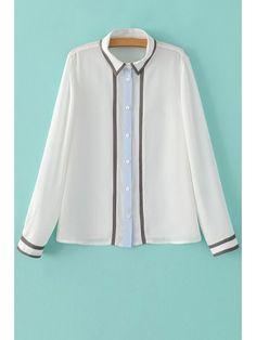 Color Block Shirt Neck Long Sleeve Shirt - WHITE M