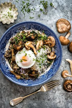 Mushroom, spinach and quinoa risotto with oven-poached eggs – delicious, hearty and healthy.