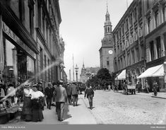 Kirkegata1907 Oslo, Past Life, Old Pictures, Norway, Street View, Antique Photos, Old Photos