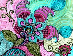 Holiday sale off FLOWER paisley fine art PRINT-pink blue green flowers ink and acrylic Zentangle Drawings, Doodle Drawings, Zentangles, Art Floral, Zen Doodle, Doodle Art, Art Zen, Tangle Art, Doodle Coloring