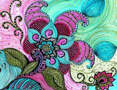 FLOR arte paisley PRINT rosado azul verde flores de por devikasart