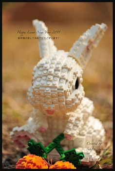 cream lego rabbit
