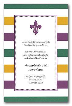 Invites for Mardi Gras themed rehearsal dinner