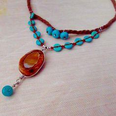 Boho Gemstone and Hemp Rope Necklace - Jewelry creation by Raziela Designs