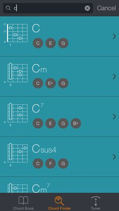 Chord Finder: Find any chord by entering its name, tones or tensions. Discover new voicings of any given chord, including its inversions. #Uberchord #guitar
