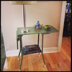 We grab every vintage Toledo type table we can because they are so versatile.  Try one as a bedside table for a great vintage look. Bedside, Vintage Looks, Annie, Entryway Tables, Home Goods, Type, Furniture, Home Decor, Decoration Home