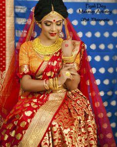 Indian Wedding Poses, Indian Wedding Couple Photography, Bengali Wedding, Bengali Bride, Bride Photography, Wedding Looks, Bridal Looks, Bengali Bridal Makeup, Indian Silk Sarees