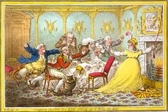 Company-Shocked when the lady gets up to ring the bell.  There are obviously characters here of well know personages. The Prince of Wales at the end of the table perhaps Wellington wigged? and Mrs Fitzherbert? or Princess Caroline? would love to know the rest more work is needed to translate the true meaning. It is most likely a secret meeting that cannot be witnessed -Gillray