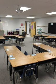 I like this arrangement 7 desks and nobody is actually facing each other  I think 4 groups would fit in my room