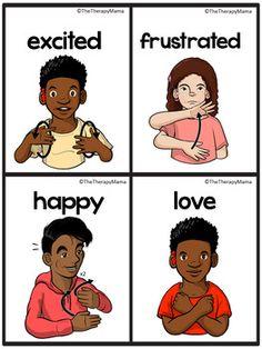 ASL American Sign Language Emotions Unit BTS Source by jenncslp Irish Sign Language, Sign Language For Kids, Sign Language Phrases, Sign Language Alphabet, Sign Language Interpreter, Learn Sign Language, American Sign Language, Girl Language, Baby Sign Language Chart
