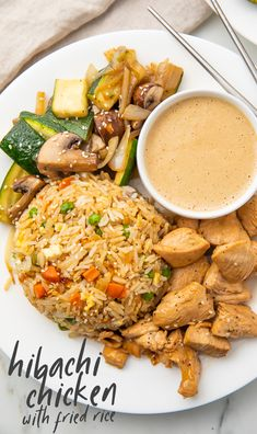 This recipe is a hibachi chicken dinner on a plate! With restaurant-style sautéed veggies, fried rice, and super tender chicken, this hibachi recipe is served with a spicy mustard dipping sauce that really transports you to the Japanese steakhouse! Hibachi Chicken, Hibachi Rice, Japanese Hibachi Fried Rice Recipe, Restaurant Diner, Hibachi Recipes, Asian Recipes, Healthy Recipes, Salads, Gourmet