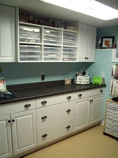 craft counter | This side holds various craft supplies and a circle cutting system.