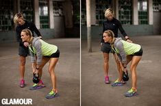 Carrie Underwood working out with trainer Erin Oprea in a Glamour 2014 feature.