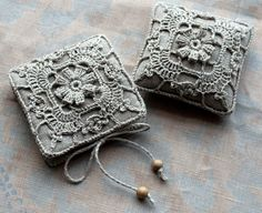 Gift set -- linen pincushion and needle book -- crocheted detail, via Etsy.  I could do that, I'm sure!