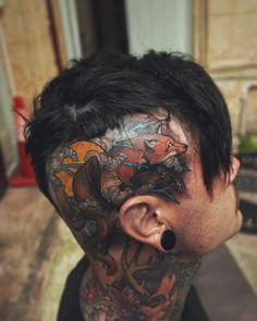 Nice fox tattoo design on head by @akostattoo