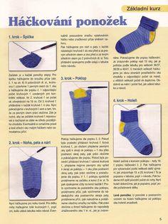 Jak uháčkovat ponožky   Vše o háčkování Crochet Slippers, Baby Booties, Crochet Clothes, Google Drive, Diy And Crafts, Knitting, How To Make, Sock, Macrame