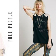 Free People || Bulls Eye Tank Brand new with tags Color: Washed Black Combo Free People Tops Tank Tops