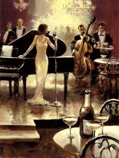 Ambiance (music)- This is how I picture the music that would be prominent at one of Gatsby's parties. It would be a type of Jazz/Cocktail music. There would be a big orchestra and the music would play all night. Although the picture above is only a painting, I picture the musicians very similar to it. They would look very elegant and professional.