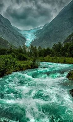 acikinnalog:   Briksdal Glacier in Stryn, Norway... - Tree Porn - Beautiful Photographs of Trees, Forests and Woods.