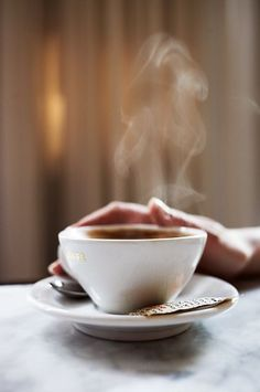 a steamy cup of hot coffee or tea always makes me feel better I Love Coffee, Coffee Art, Hot Coffee, Coffee Break, Coffee Drinks, Morning Coffee, Coffee Shop, Coffee Cups, Happy Coffee