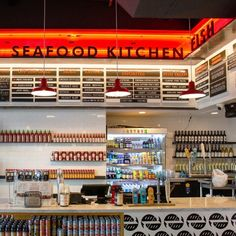 "ANP Lighting provides ""W512"" warehouse shades with #43 ""Bright Red"" color finish, for Seasalt Fish Grill in Culver City, CA! - Click to find out more about ANP Lighting fixtures!"