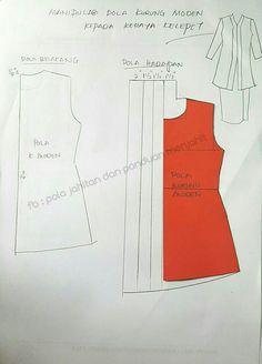 kebaya kelepet Vogue Dress Patterns, Dress Sewing Patterns, Clothing Patterns, Kebaya Modern Dress, Kebaya Dress, Pola Kebaya Kutubaru, Model Kebaya, Sewing Alterations, Batik Dress