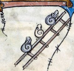 discarding images - snails on a ladder Hours of Saint-Omer, France ca....