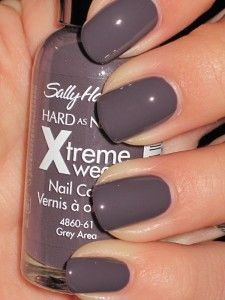 Grey Area Xtreme Wear by Sally Hansen - LOVE this color :) It's a super nice greyish dark purple, and I wear it pretty much all year round