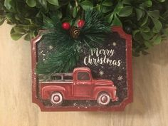 """New Farmhouse VINTAGE RED TRUCK TREE MERRY CHRISTMAS Hanging Ornament Sign 5"""" #YHD Vintage Red Truck, Merry Christmas, Christmas Ornaments, Hanging Ornaments, Vintage Farmhouse, Trucks, Sign, Holiday Decor, Ebay"""