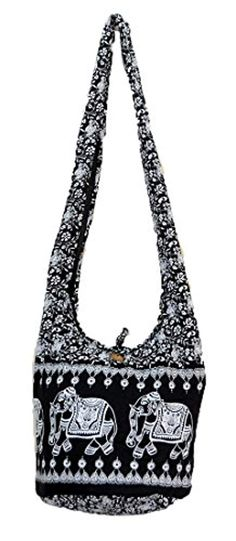9d36ff589d5e Thai Hippie Hobo Sling Crossbody Shoulder Bag Purse Handmade Black Elephant  Gypsy Boho Medium   You
