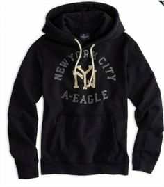 Moletom American Eagle Men's Ae Nyc Applique Hooded Pop Over Peacoat Navy #Moletom #American Eagle