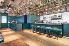 NC Design & Architecture designed the coworking offices of WeWork, located in Hong Kong, China. The new model of communal workspaces with hot desking Office Interior Design, Office Interiors, Pantry Design, Kitchen Design, Bar Design Awards, Office Lounge, Visual Merchandising, Workplace Design, Co Working